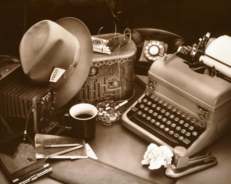 STILL LIFE / REPORTER'S DESK WITH TYPEWRITER & BOX CAMERA