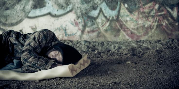 Homeless Young Man Sleeping